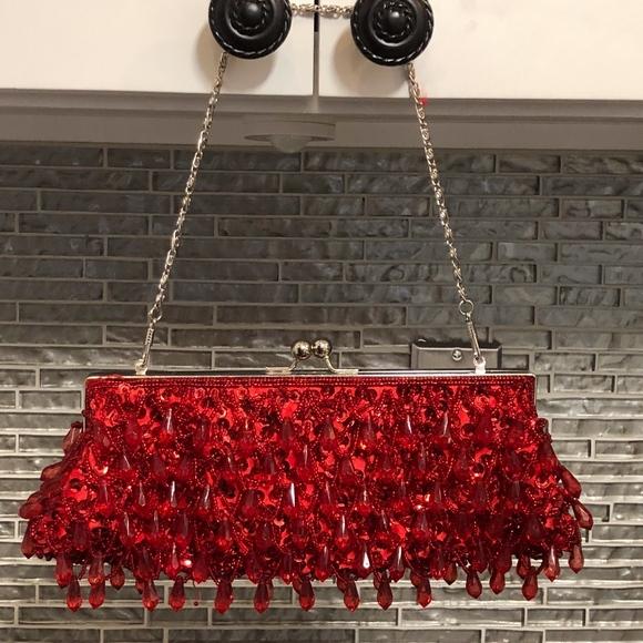 Lapis Handbags - Lapis Red Beaded Clutch